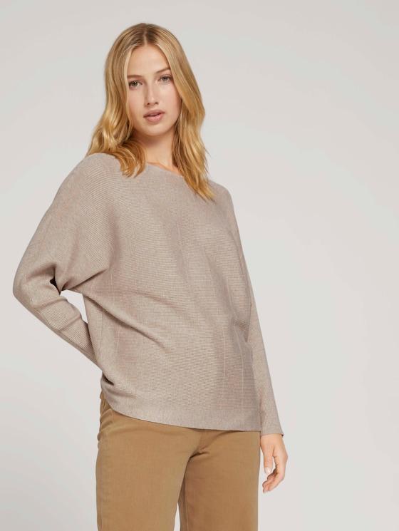 Pullover mit Fledermausärmeln - Frauen - soft cozy beige melange - 5 - TOM TAILOR Denim