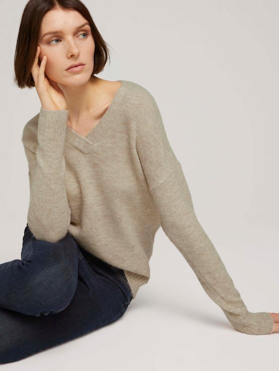 Pullover mit V-Ausschnitt - Frauen - cozy beige melange - 5 - TOM TAILOR Denim