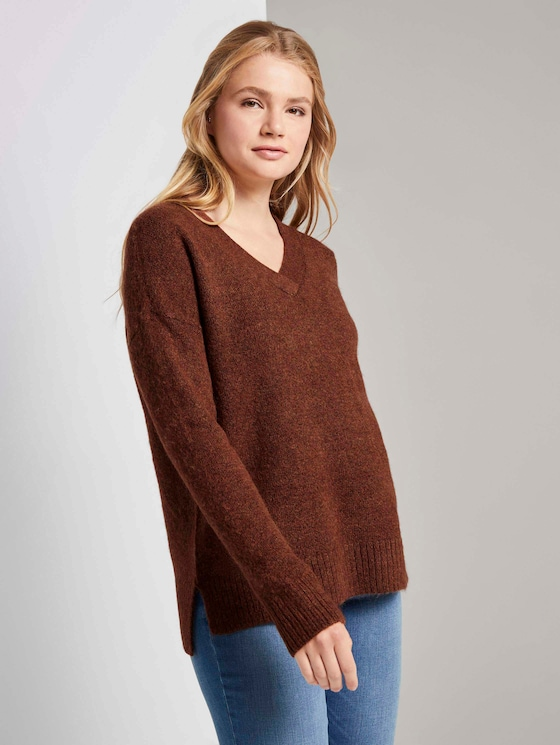 Pullover mit V-Ausschnitt - Frauen - rust orange melange - 5 - TOM TAILOR Denim