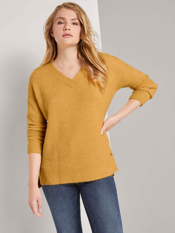 Pullover mit V-Ausschnitt - Frauen - indian spice yellow melange - 5 - TOM TAILOR Denim
