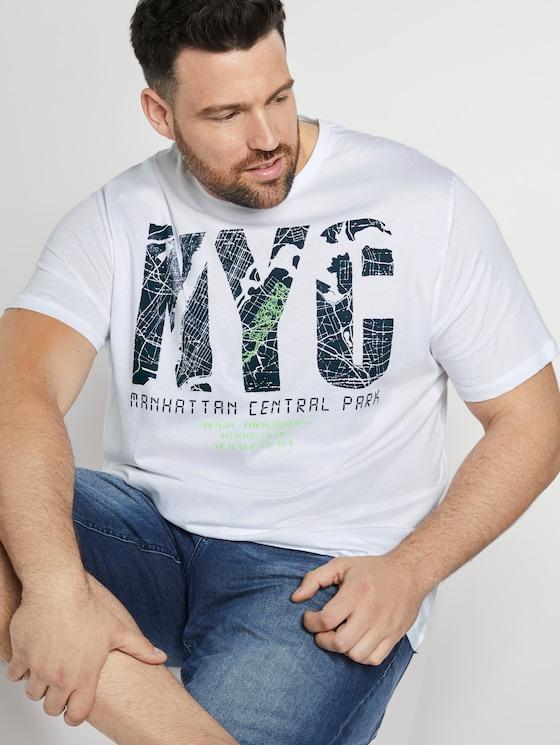 "T-Shirt mit ""New York"" Print - Männer - White - 5 - Men Plus"