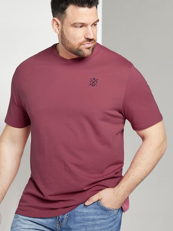 Schlichtes T-Shirt mit V-Ausschnitt - Männer - wine rose pink - 5 - Men Plus
