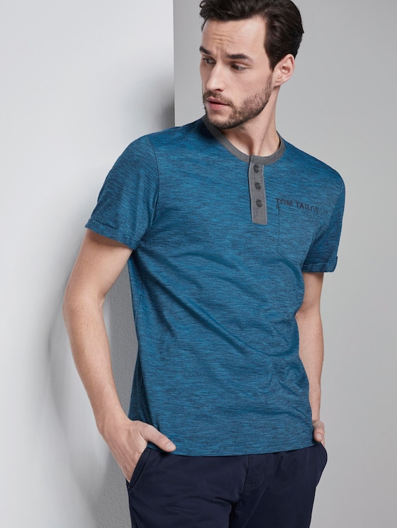 Striped Henley T-shirt with a chest pocket - Men - navy turquoise fine stripe - 5 - TOM TAILOR