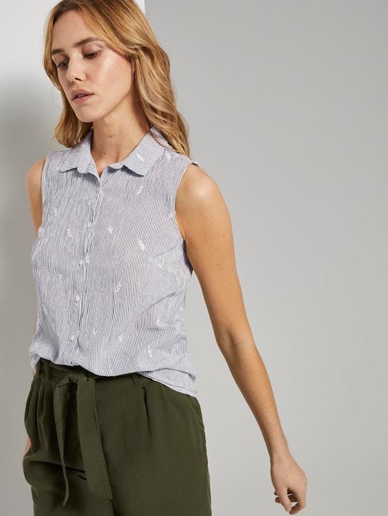 Ärmellose Hemdbluse mit Stickereien - Frauen - olive white leaves embroidery - 5 - TOM TAILOR