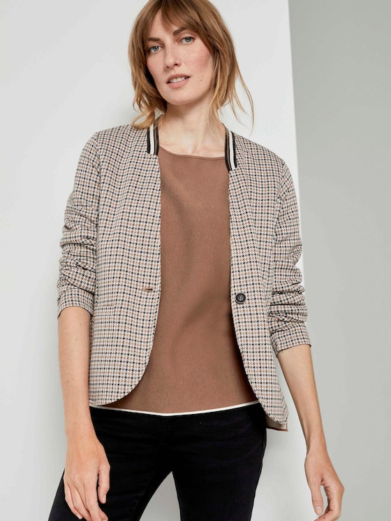 Karierter Jersey-Blazer - Frauen - camel small check - 5 - TOM TAILOR