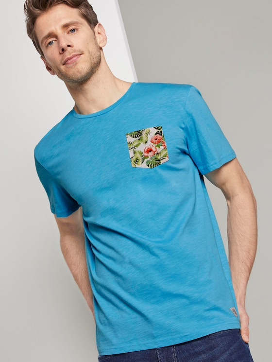 T-Shirt mit gemusterter Brusttasche - Männer - clear blue atoll - 5 - TOM TAILOR
