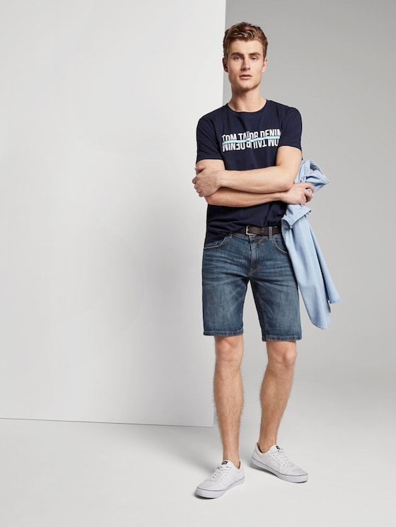 Bermuda Jeansshorts mit Schlüselanhänger - Männer - Used Mid Stone Blue Denim - 3 - TOM TAILOR Denim
