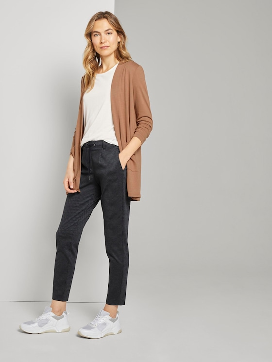 Fein karierte Loose Fit Hose - Frauen - grey houndtooth check - 3 - TOM TAILOR