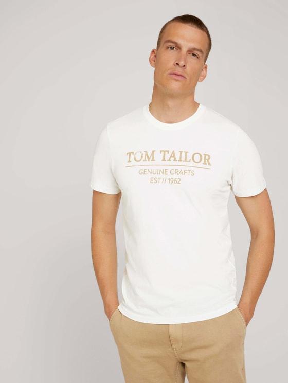 T-Shirt mit Bio-Baumwolle - Männer - Off White - 5 - TOM TAILOR
