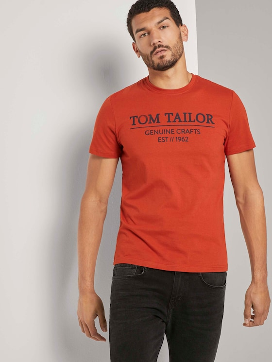 T-Shirt mit Logo-Print - Männer - Ginger Orange - 5 - TOM TAILOR