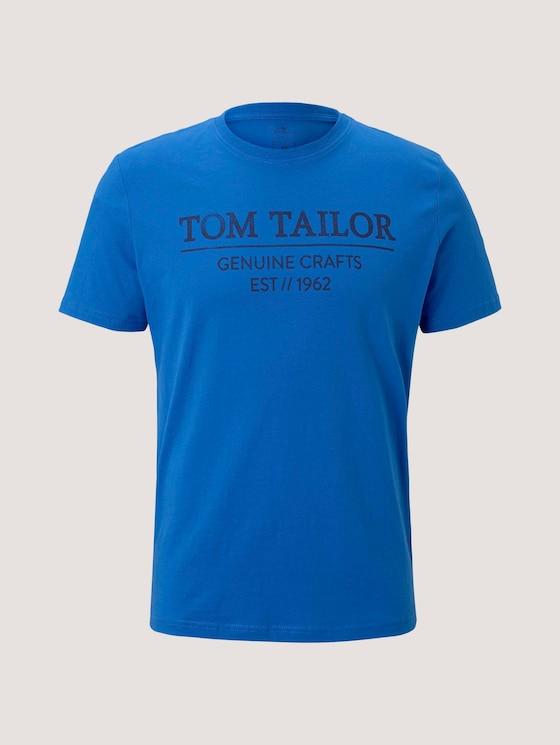T-Shirt mit Logo-Print - Männer - Electric Blue - 7 - TOM TAILOR