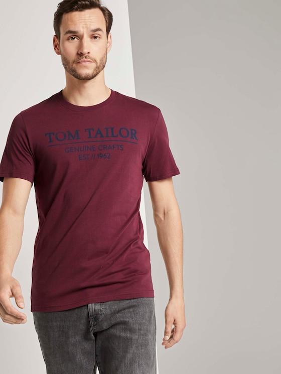 T-Shirt mit Logo-Print - Männer - Dusty Wildberry Red - 5 - TOM TAILOR