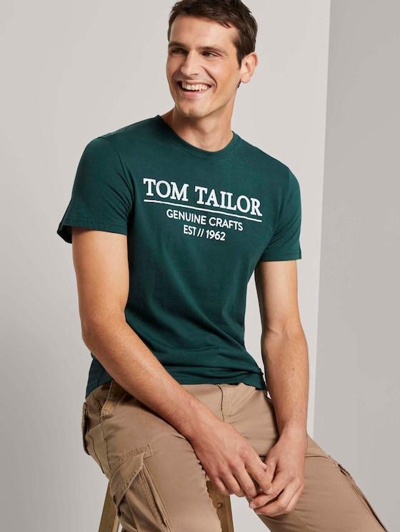 T-Shirt mit Logo-Print - Männer - Stroke Green - 5 - TOM TAILOR