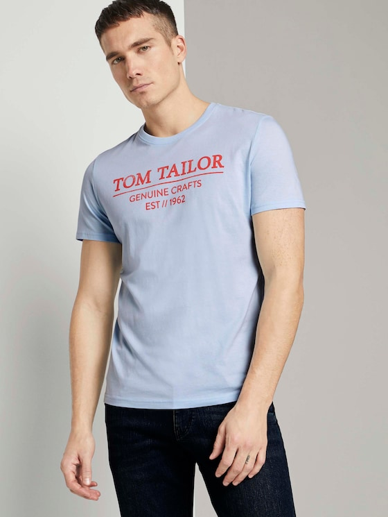 T-Shirt mit Bio-Baumwolle - Männer - Light Metal Blue - 5 - TOM TAILOR