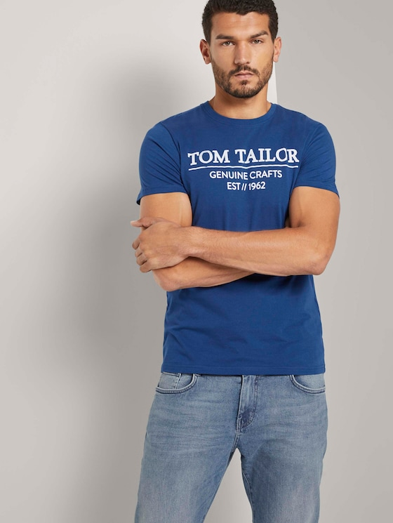T-Shirt mit Logo-Print - Männer - after dark blue - 5 - TOM TAILOR