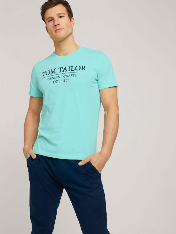 T-Shirt mit Bio-Baumwolle - Männer - lucite green white melange - 5 - TOM TAILOR