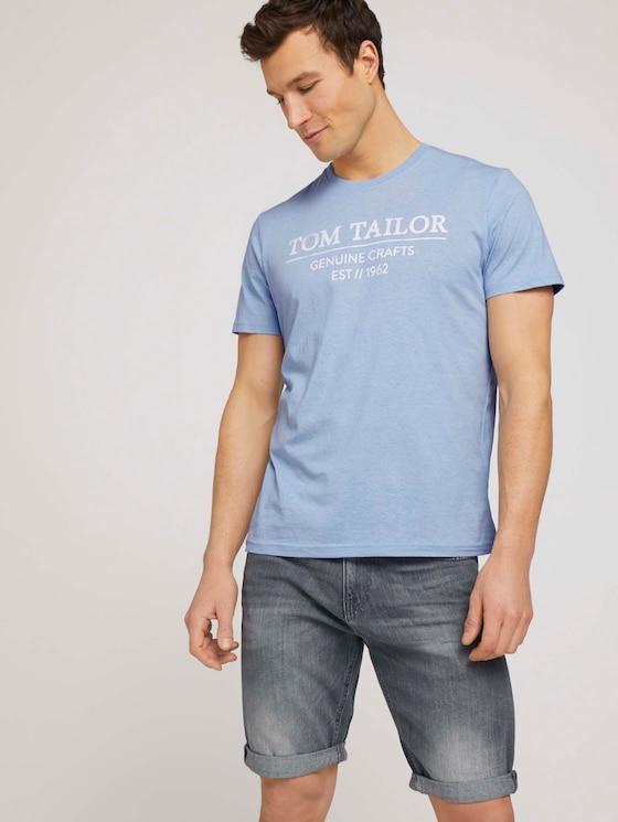 T-Shirt mit Bio-Baumwolle - Männer - dusk blue white melange - 5 - TOM TAILOR