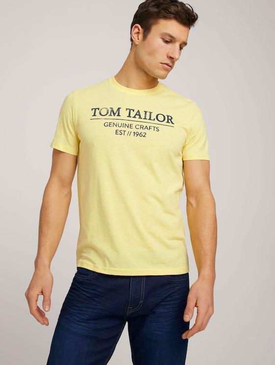 T-Shirt mit Bio-Baumwolle - Männer - pale yellow white melange - 5 - TOM TAILOR