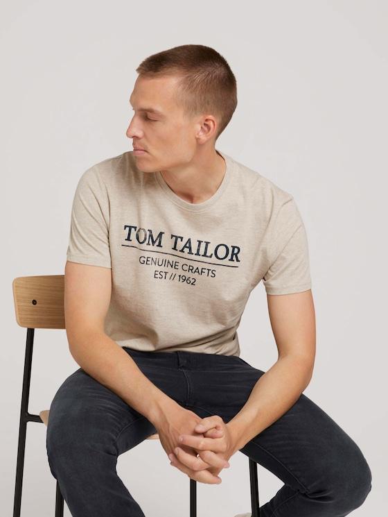 T-Shirt mit Bio-Baumwolle - Männer - cosy soft beige melange - 5 - TOM TAILOR