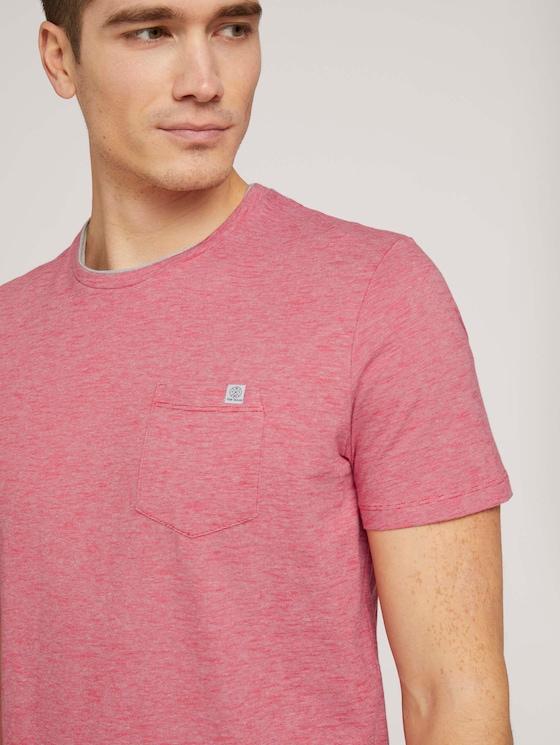 Fein gestreiftes T-Shirt mit Brusttasche - Männer - powerful red yarn dye stripe - 5 - TOM TAILOR