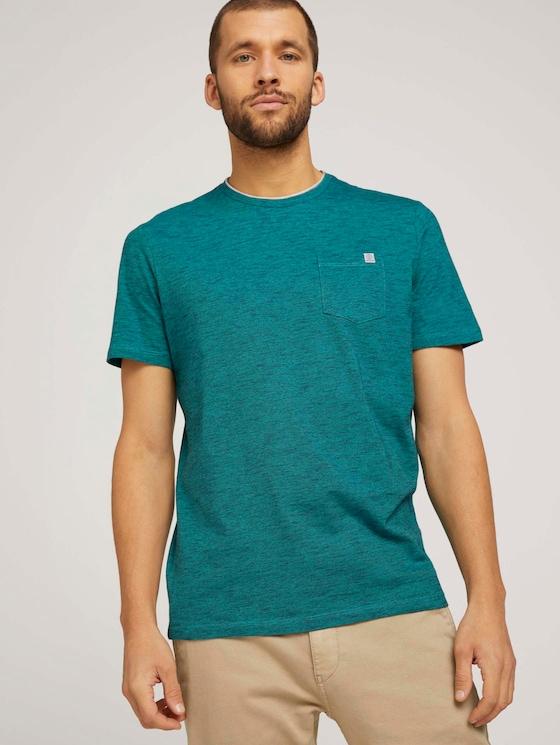Fein gestreiftes T-Shirt mit Brusttasche - Männer - dark blue aqua fine stripe - 5 - TOM TAILOR