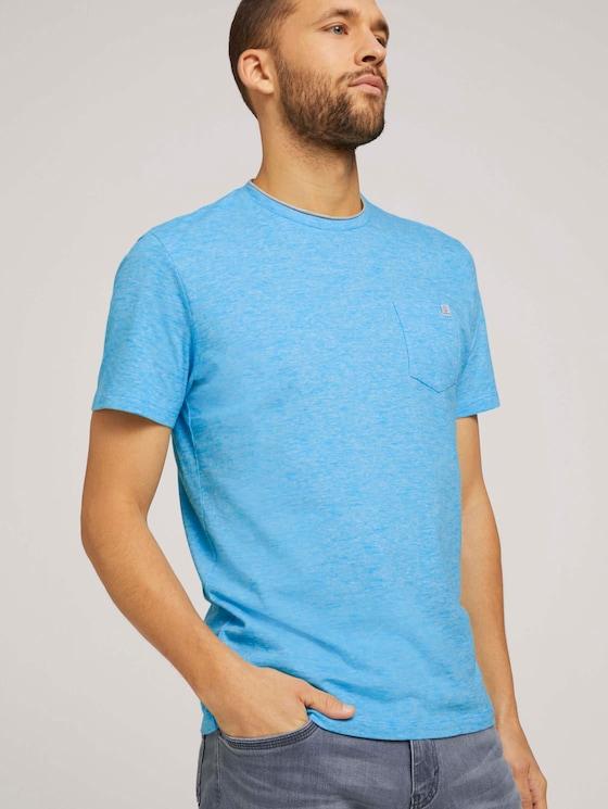 Fein gestreiftes T-Shirt mit Brusttasche - Männer - teal fine stripe - 5 - TOM TAILOR