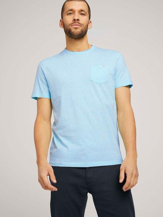 Fein gestreiftes T-Shirt mit Brusttasche - Männer - lucite green fine stripe - 5 - TOM TAILOR