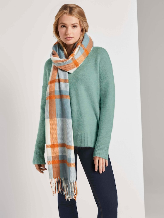Wide scarf in a checked pattern - Women - mineral stone blue check - 5 - TOM TAILOR Denim