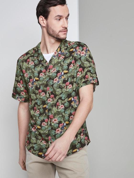 Kurzarm-Hawaiihemd mit tropischem Print - Männer - black toucan design - 5 - TOM TAILOR