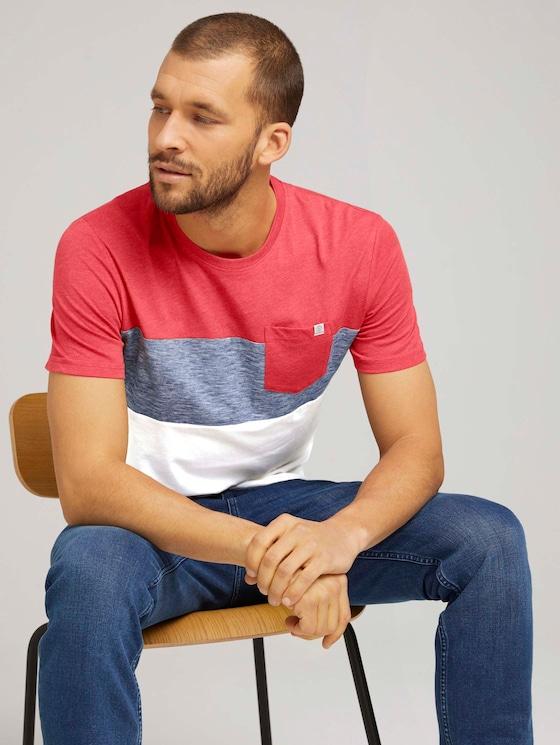T-Shirt mit Blockstreifen und Brusttasche - Männer - Powerful Red - 5 - TOM TAILOR