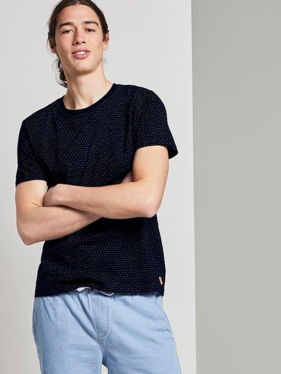 Jacquard-T-Shirt mit Streifenmuster - Männer - blue mini jacquard stripe - 5 - TOM TAILOR Denim
