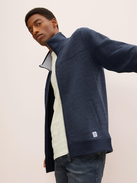 Sweatjacke mit Stehkragen - Männer - sky captain blue white melange - 5 - TOM TAILOR