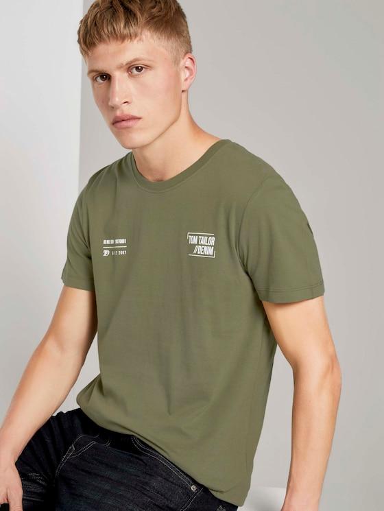 T-Shirt mit kleinem Schriftprint - Männer - Dry Greyish Olive - 5 - TOM TAILOR Denim