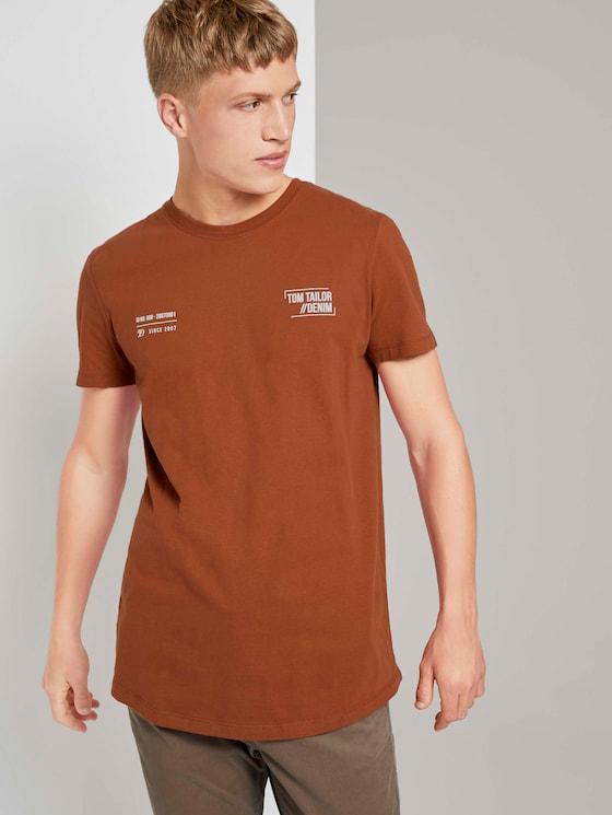 T-Shirt mit kleinem Schriftprint - Männer - Goji Orange - 5 - TOM TAILOR Denim