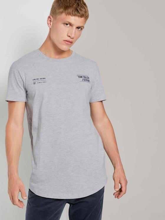 T-Shirt mit kleinem Schriftprint - Männer - Light Stone Grey Melange - 5 - TOM TAILOR Denim