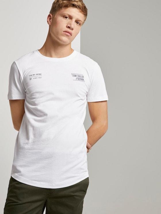 T-Shirt mit kleinem Schriftprint - Männer - White - 5 - TOM TAILOR Denim