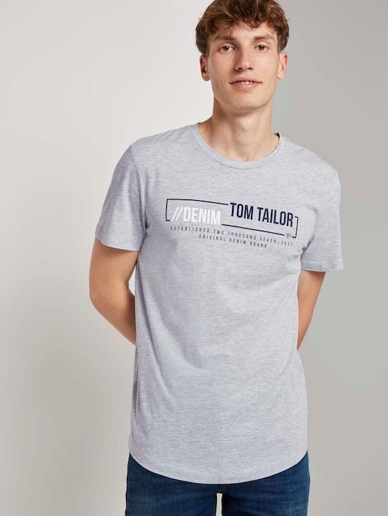 T-Shirt mit Logo-Print - Männer - Light Stone Grey Melange - 5 - TOM TAILOR Denim