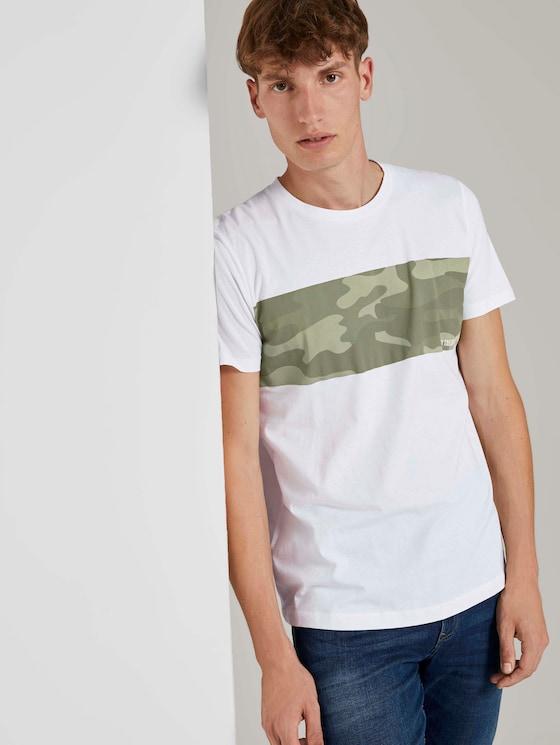 T-Shirt mit Printstreifen - Männer - White - 5 - TOM TAILOR Denim