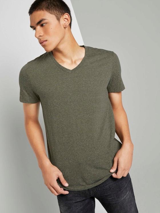 Meliertes T-Shirt mit V-Ausschnitt - Männer - dry greyish olive melange - 5 - TOM TAILOR Denim