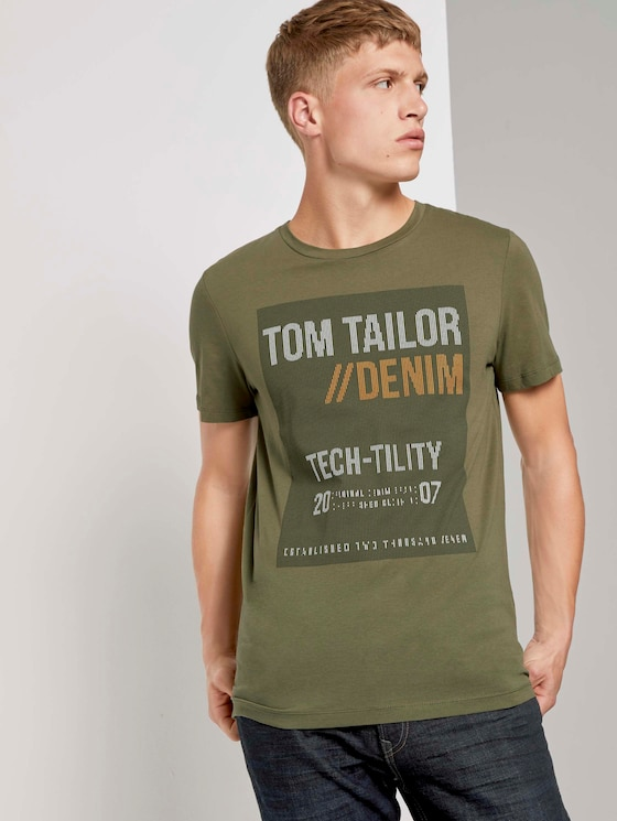 T-shirt with a print - Men - Dry Greyish Olive - 5 - TOM TAILOR Denim