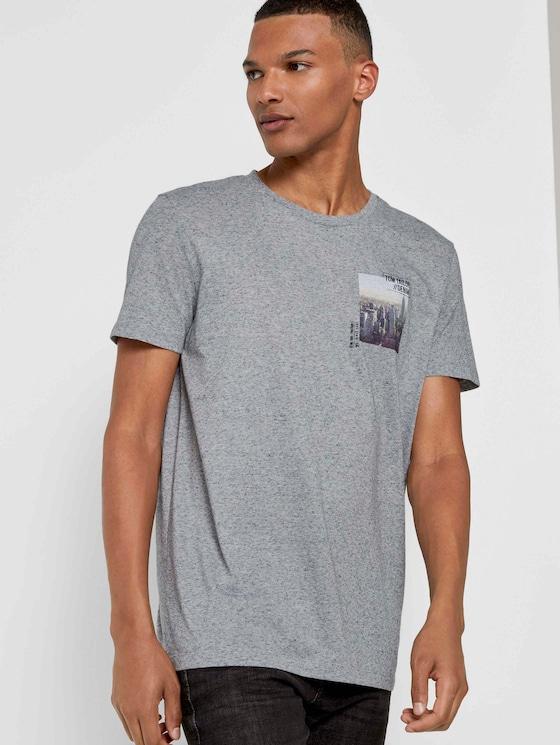 Meliertes T-Shirt mit Fotoprint - Männer - white melange - 5 - TOM TAILOR Denim