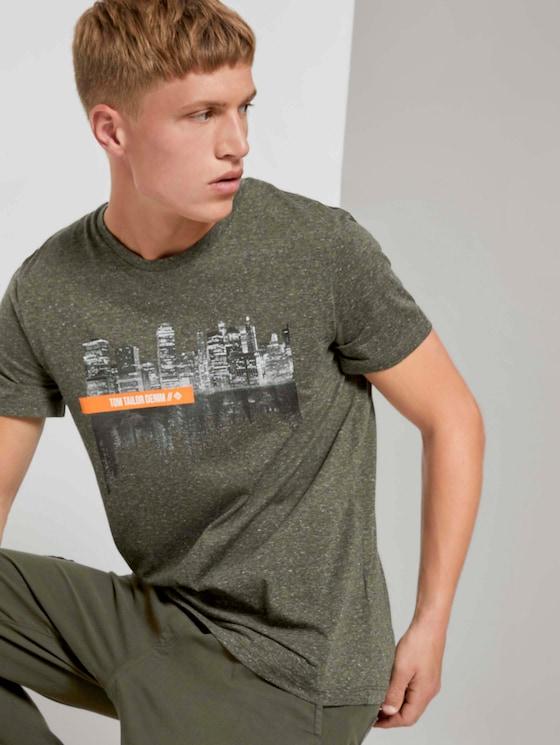 Meliertes T-Shirt mit Fotoprint - Männer - dry greyish olive melange - 5 - TOM TAILOR Denim