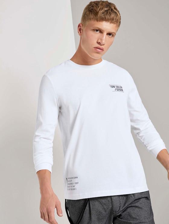 Langarmshirt mit platzierten Prints - Männer - White - 5 - TOM TAILOR Denim