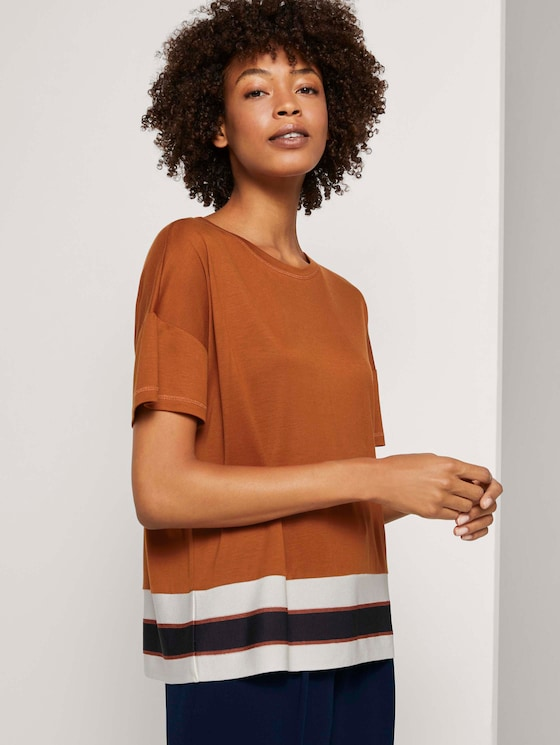 T-shirt with a striped hem - Women - Baked Ginger Orange - 5 - Mine to five