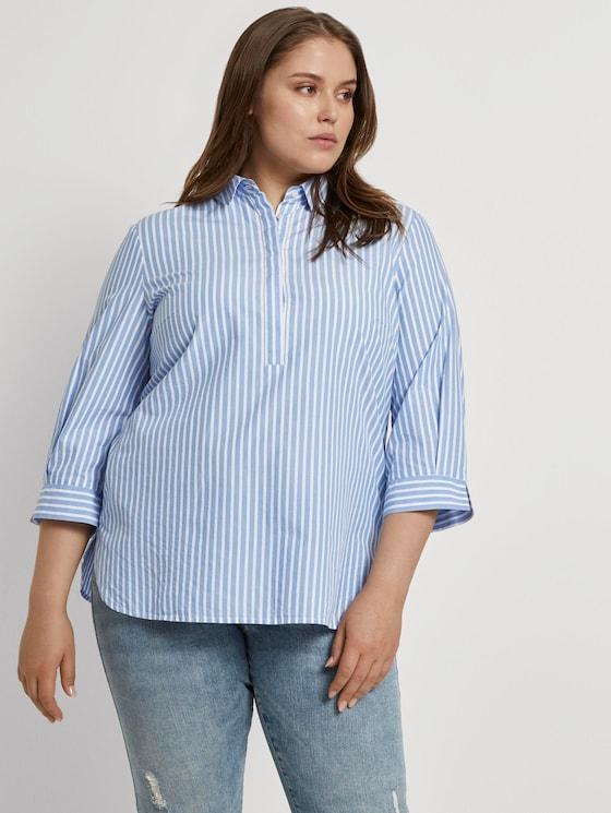 Curvy - Gestreifte Bluse mit Henley-Kragen - Frauen - sea blue ecru stripe - 5 - My True Me