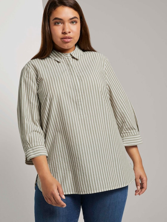 Striped blouse with a Henley collar - Women - whisper wood stripe vertical - 5 - My True Me