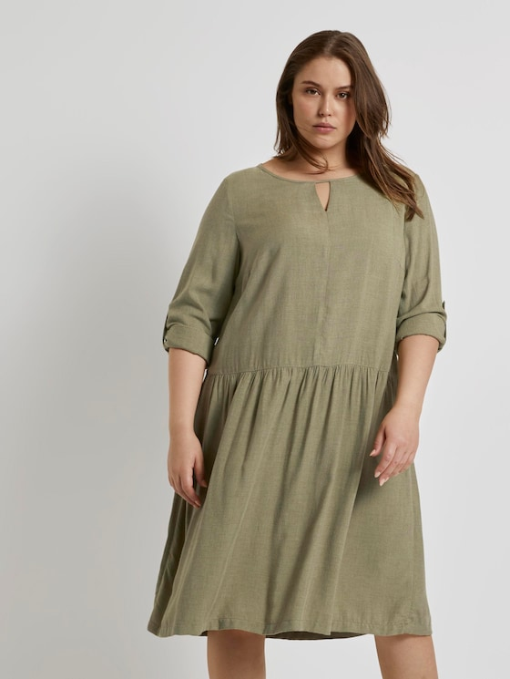 Plus - Meliertes Blusenkleid - Frauen - new light khaki melange - 5 - My True Me