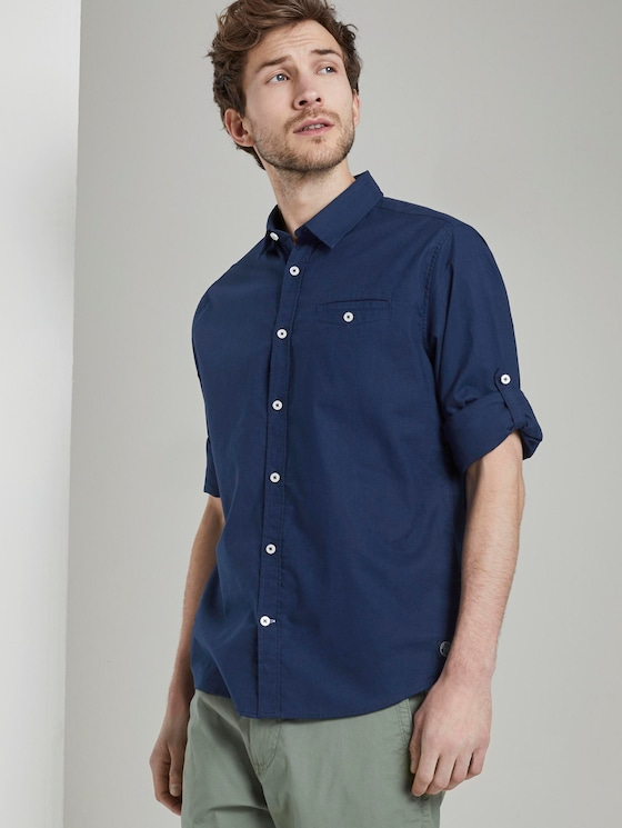 Shirt with a buttoned welt pocket - Men - Cosmos Blue - 5 - TOM TAILOR