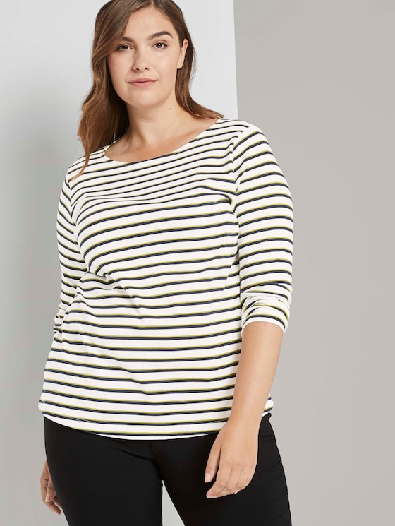 Gestreiftes Langarmshirt - Frauen - white wood navy stripe - 5 - My True Me