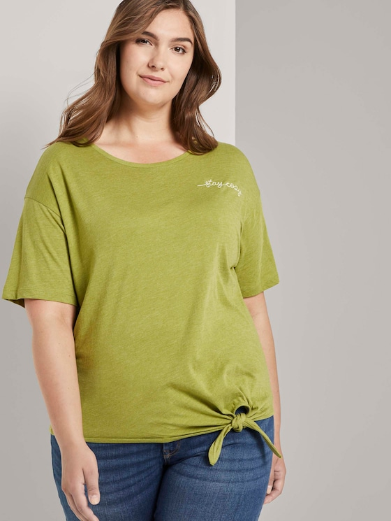 T-Shirt mit Knotendetail - Frauen - wood green melange - 5 - My True Me